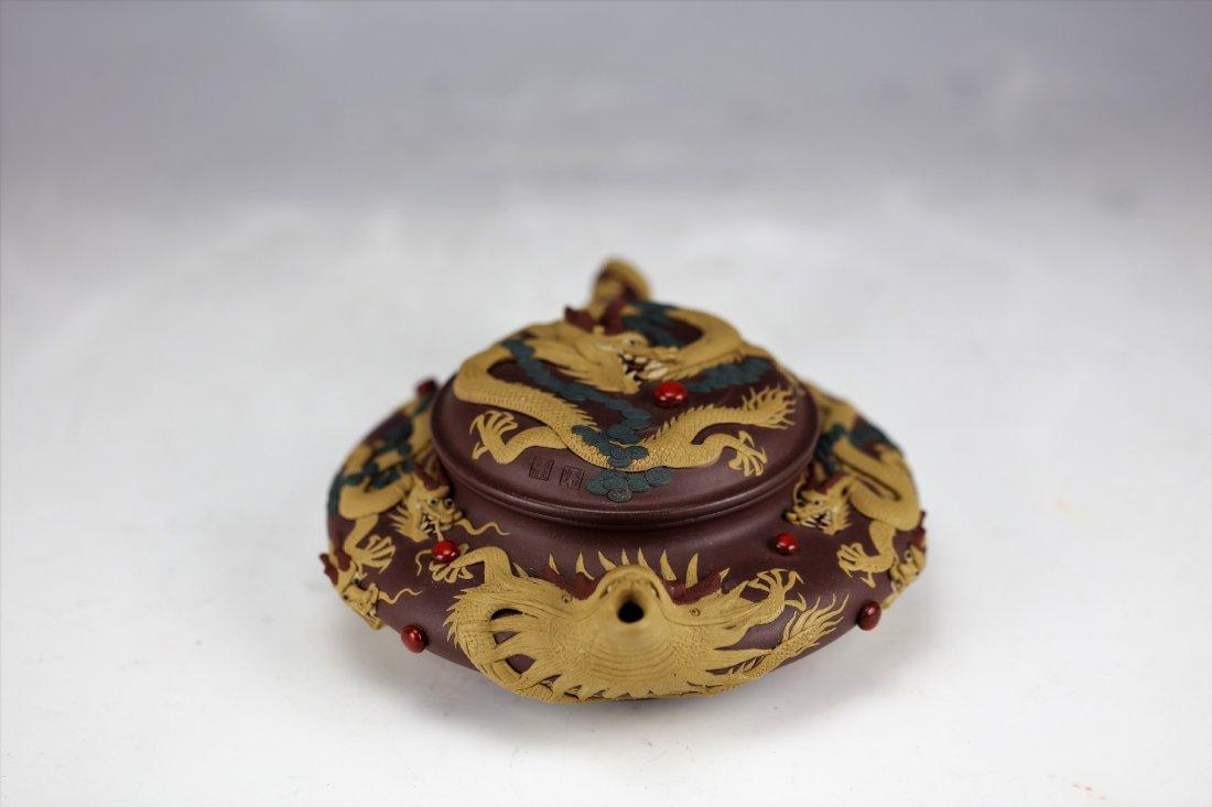 Zisha Clay Teapot of Nine Dragons by Zhu Liang - 4