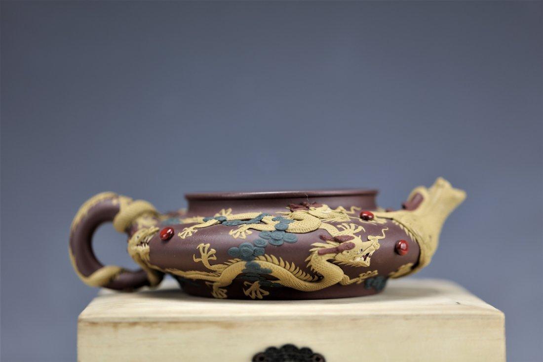 Zisha Clay Teapot of Nine Dragons by Zhu Liang - 5