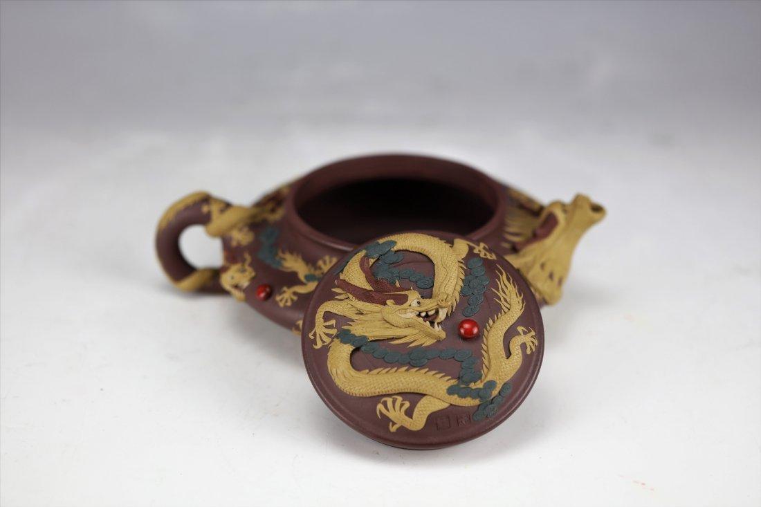 Zisha Clay Teapot of Nine Dragons by Zhu Liang - 8