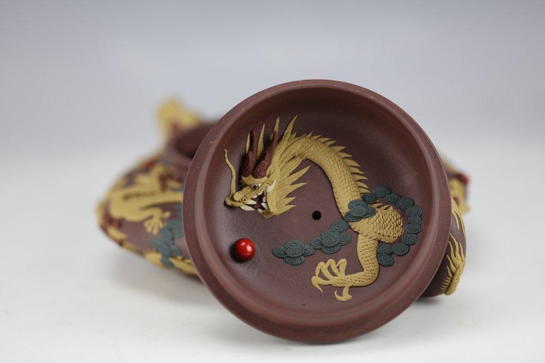 Zisha Clay Teapot of Nine Dragons by Zhu Liang - 9