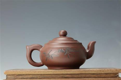 A Purple Sand Tea Pot of Bamboo Leaves and Chinese