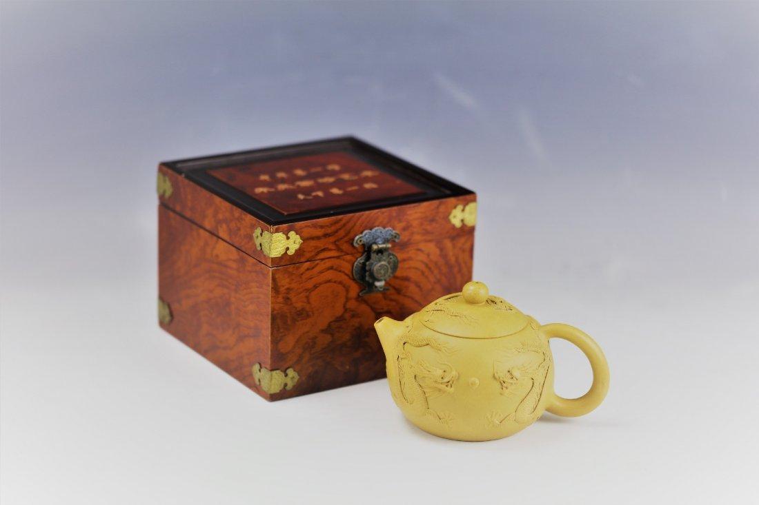 A Five Dragons Clay Teapot by Zhu Liang