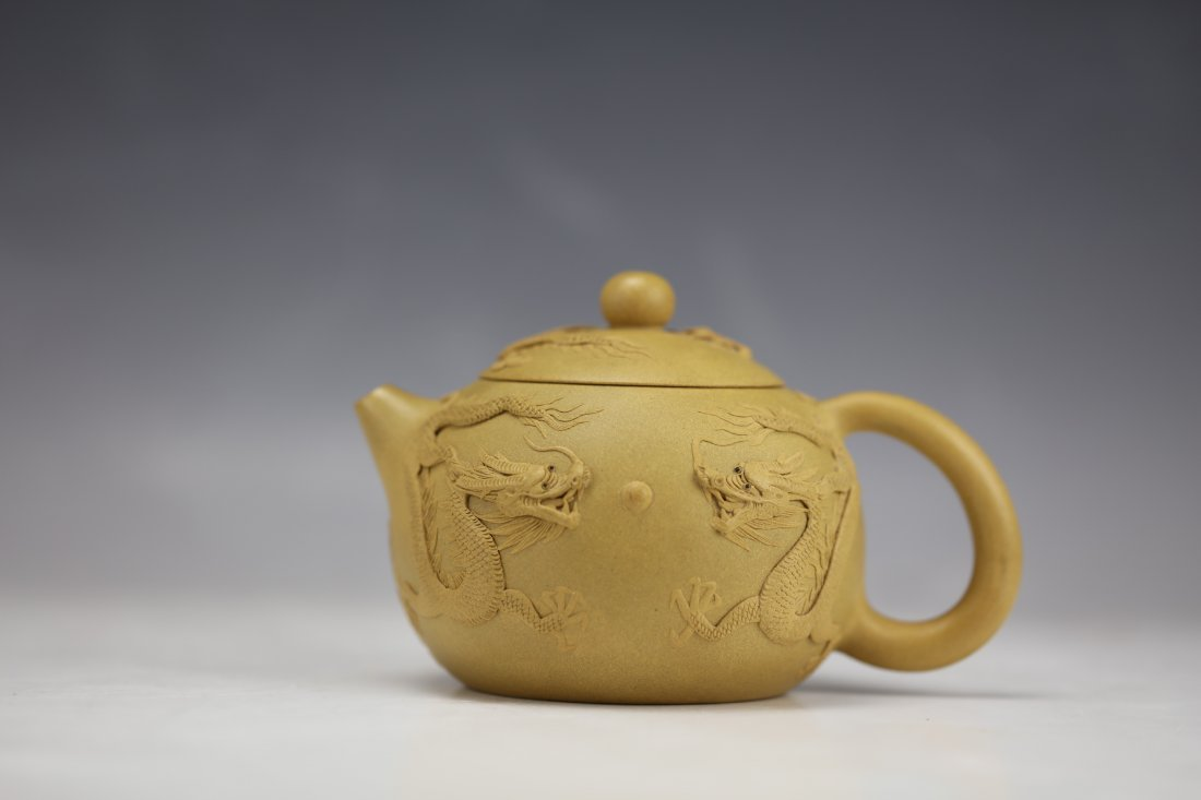 A Five Dragons Clay Teapot by Zhu Liang - 2