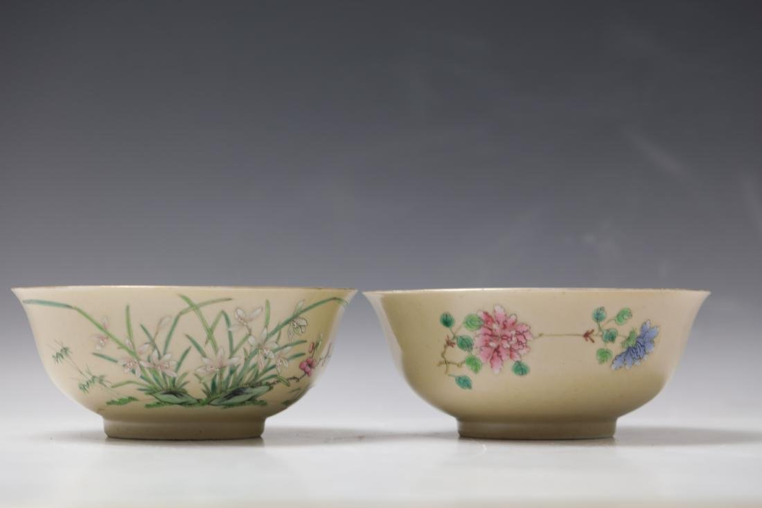 A Pair of Floral Famille Verte Bowls with DaoGuang Mark - 2