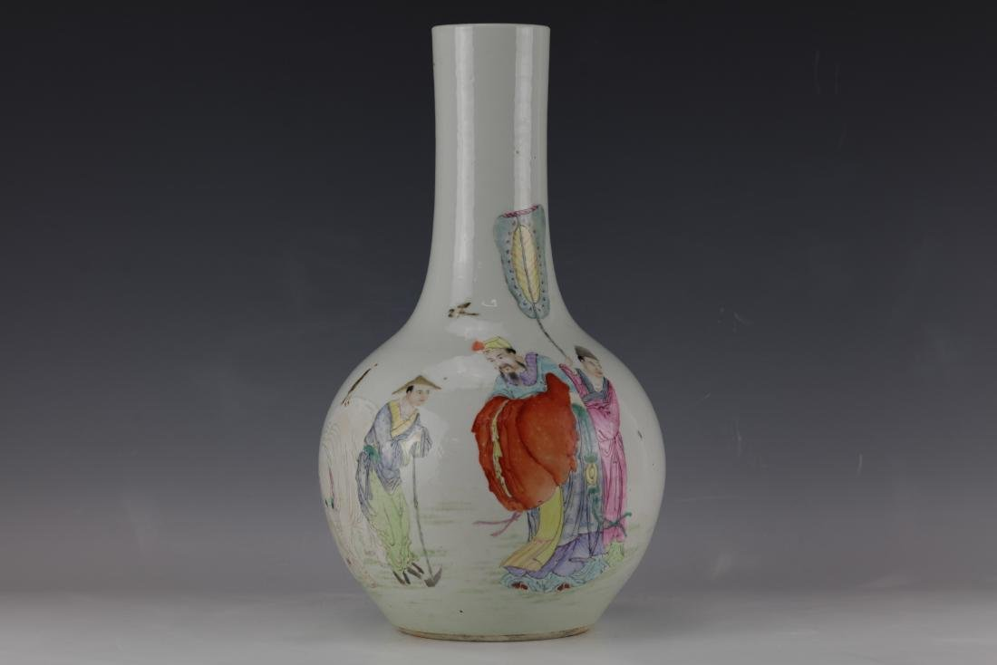 A Chinese Famille Rose Vase with Qianlong Mark