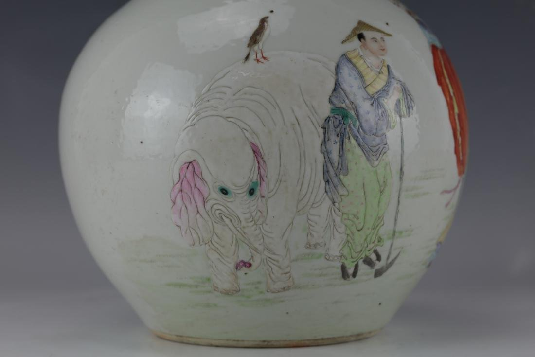 A Chinese Famille Rose Vase with Qianlong Mark - 3