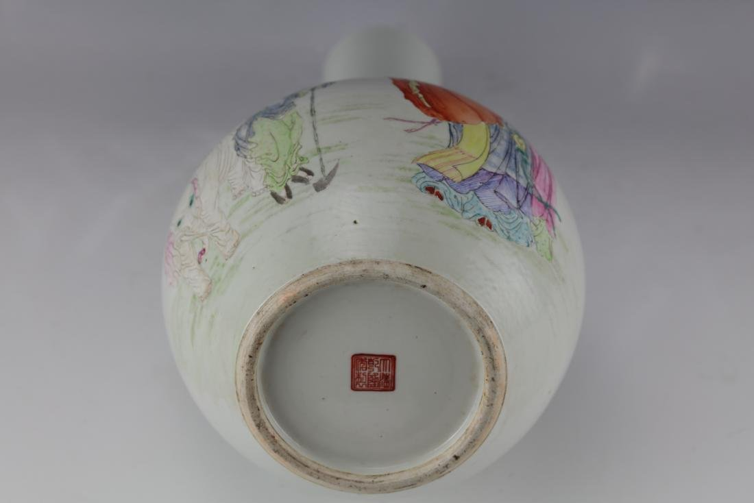 A Chinese Famille Rose Vase with Qianlong Mark - 9