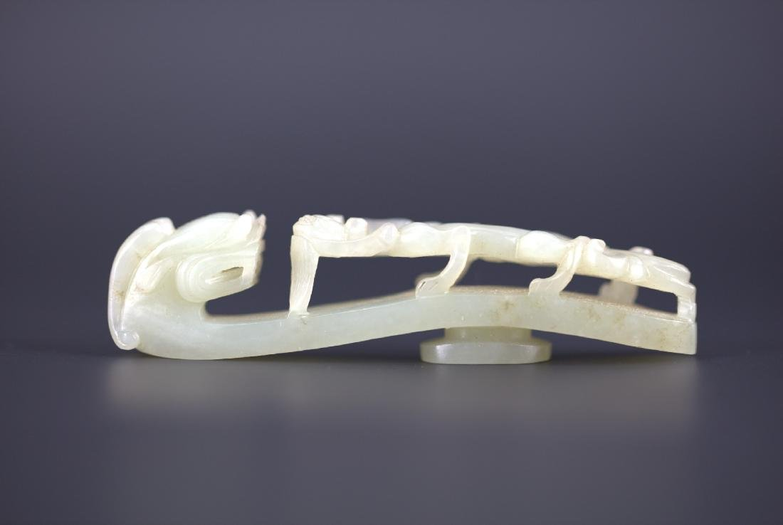 A Chinese Carved Dragon White Jade Buckle Qing Dynasty