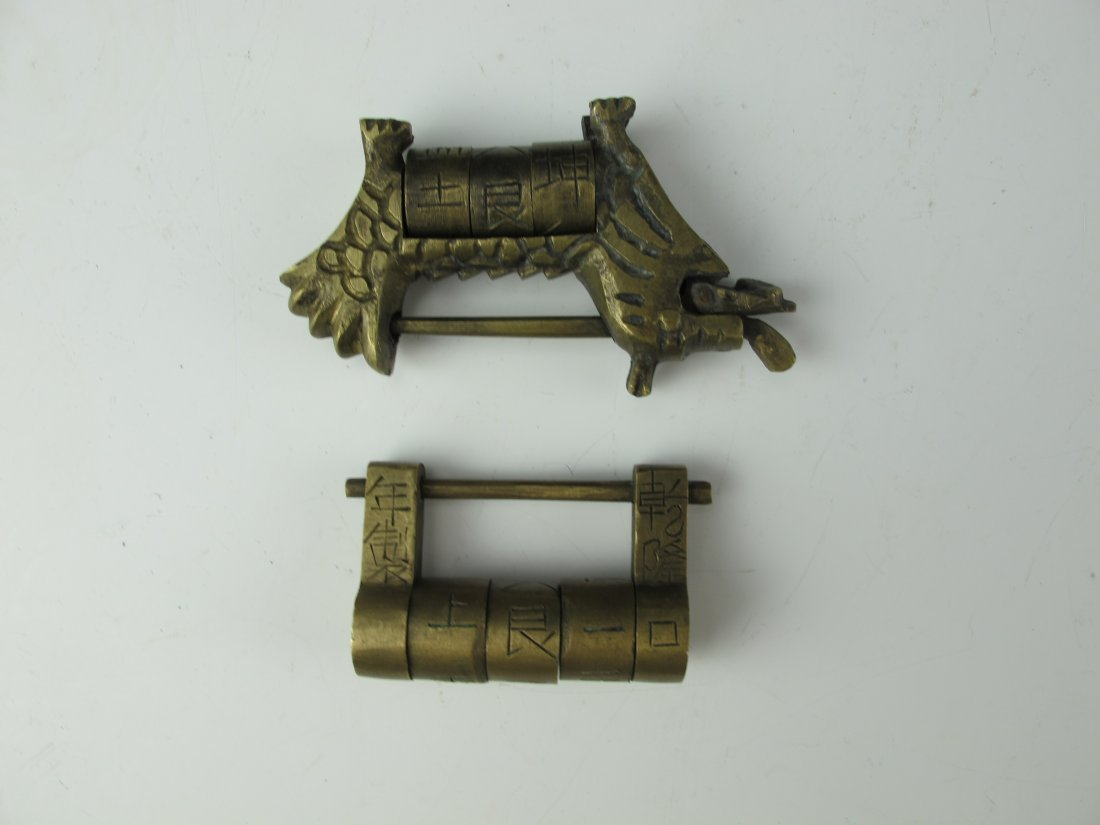 Two Chinese Antique Brass Combination Locks