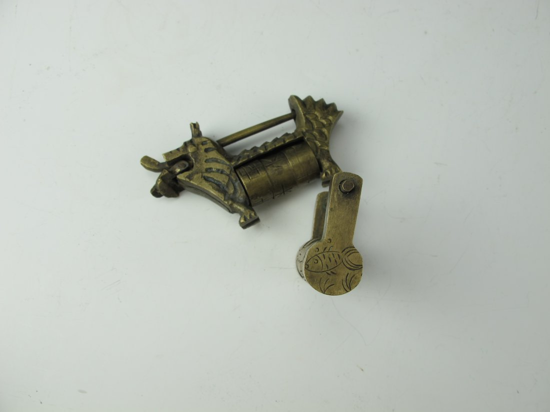 Two Chinese Antique Brass Combination Locks - 2