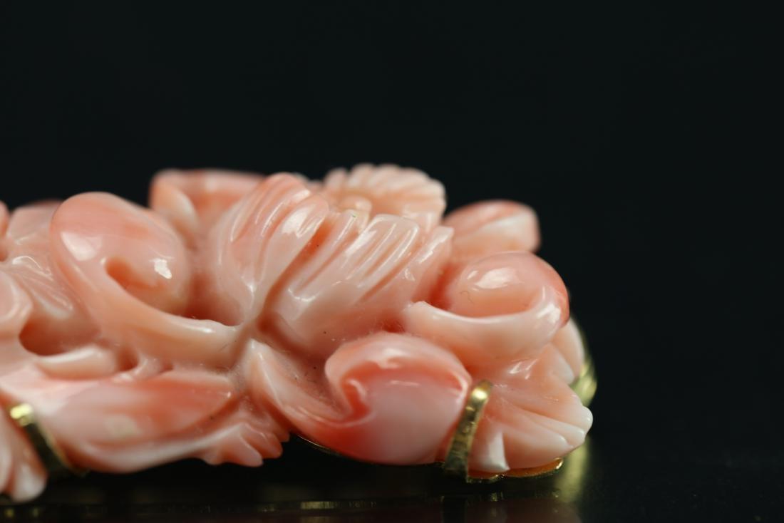 A Pink Coral Breastipin - 3