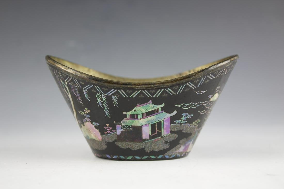 A Mother of Pearl inlay Figure and Landscape Laquer Cup - 7