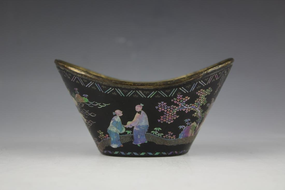 A Mother of Pearl inlay Figure and Landscape Laquer Cup - 8