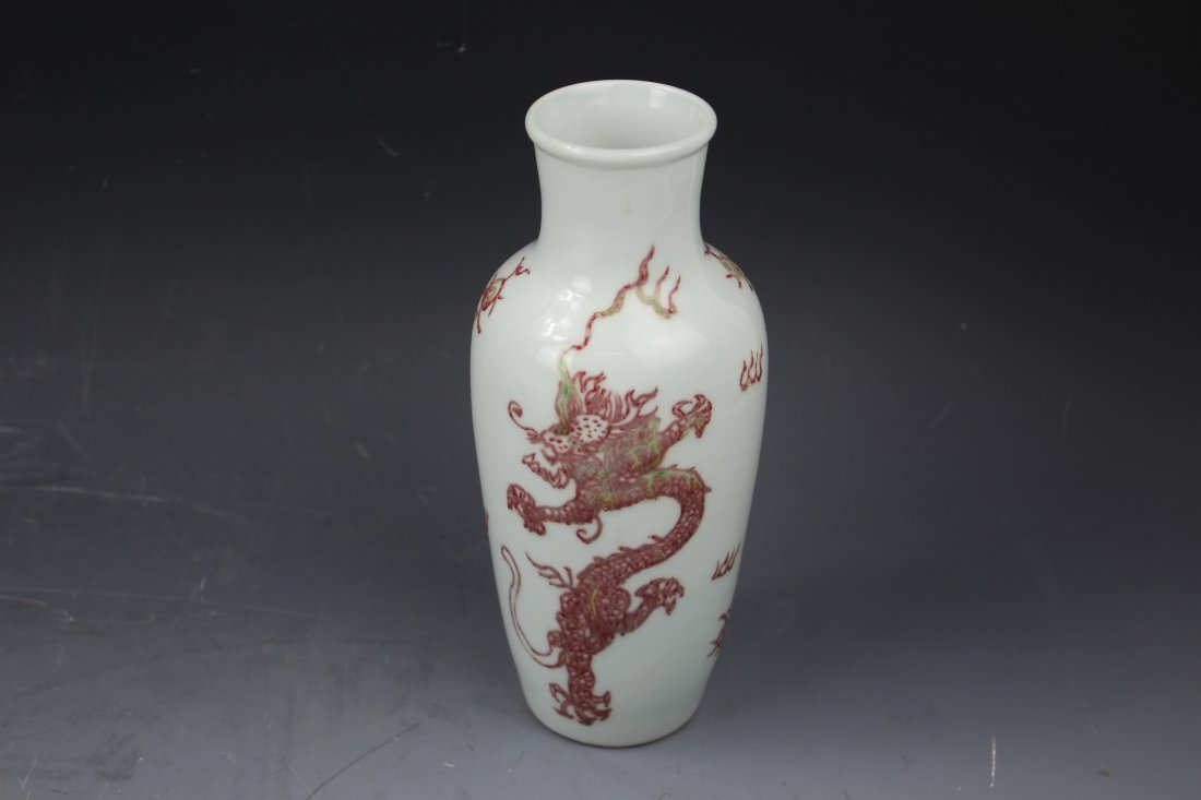 Fine Chinese Underglaze Red Dragon Vase W Kangxi Mark - 3