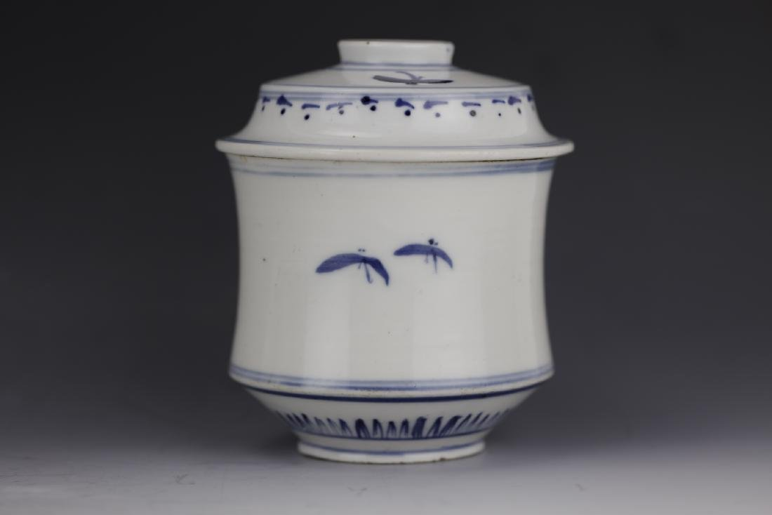A Chinese Blue White Porcelain Pot With Cover - 3