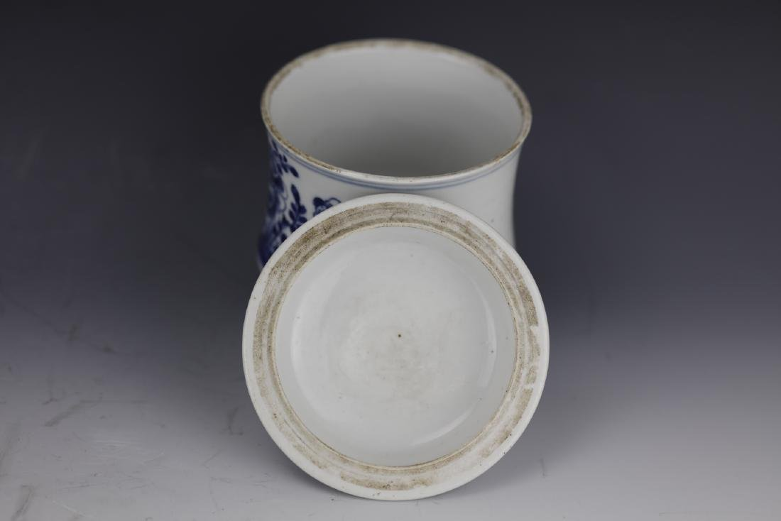 A Chinese Blue White Porcelain Pot With Cover - 6