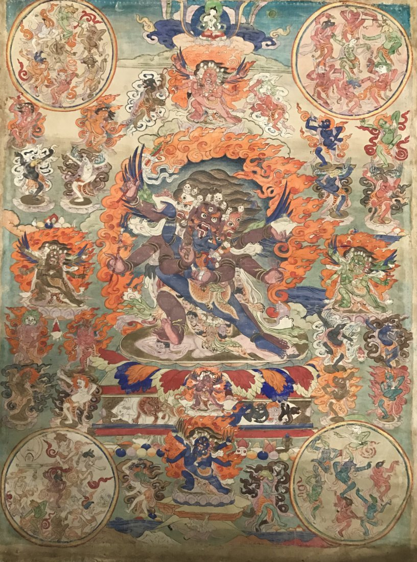 Fine Chinese 19th Century Tangka of Guardian