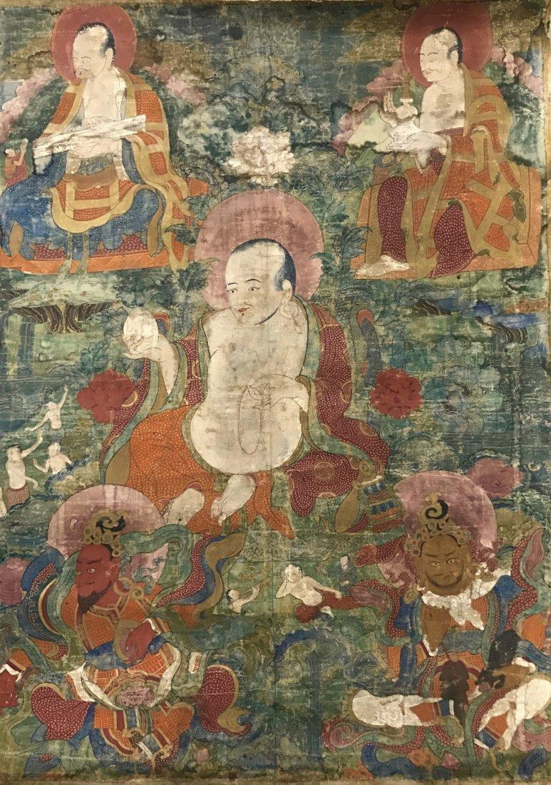 Two Chinese 18th Century Tibetan Luohan Tangka