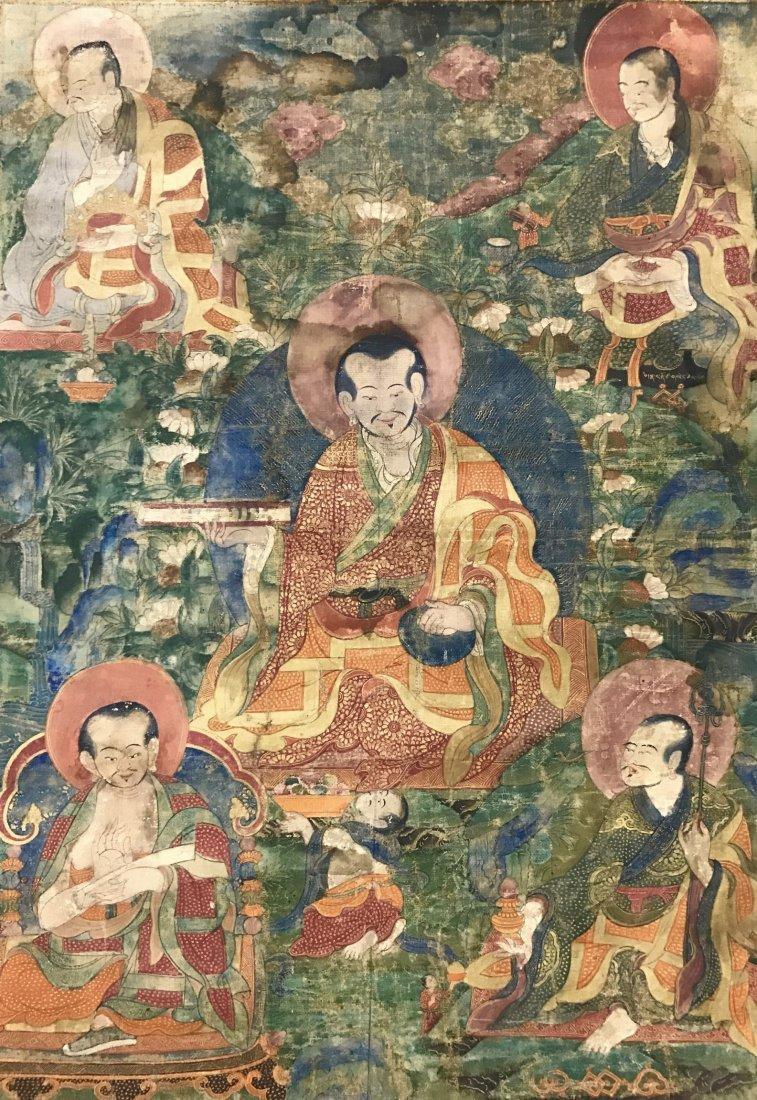 Two Chinese 18th Century Tibetan Luohan Tangka - 6
