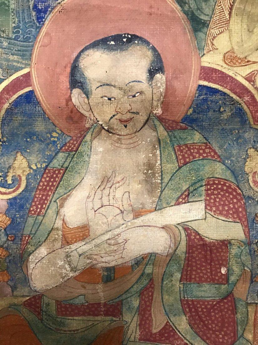Two Chinese 18th Century Tibetan Luohan Tangka - 9