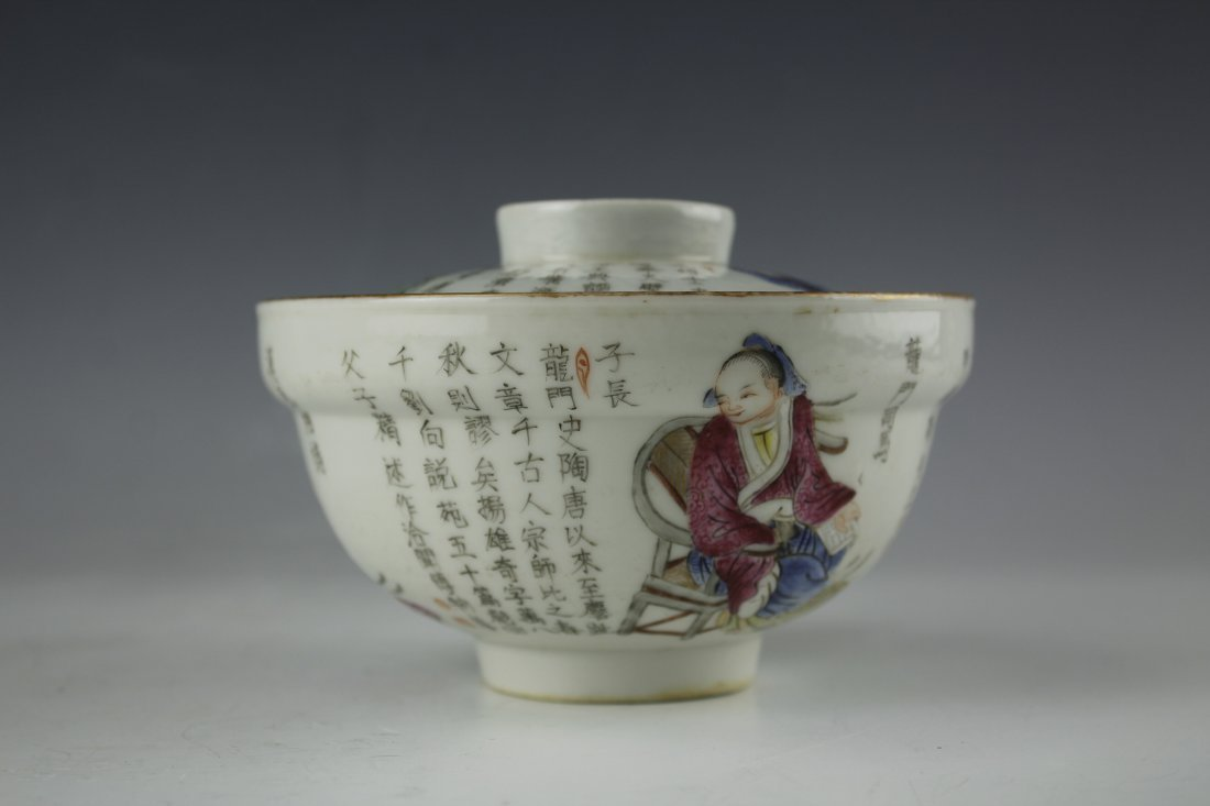 A FAMILLE ROSE Heroes PORCELAIN Bowl W Daoguang Mark - 3
