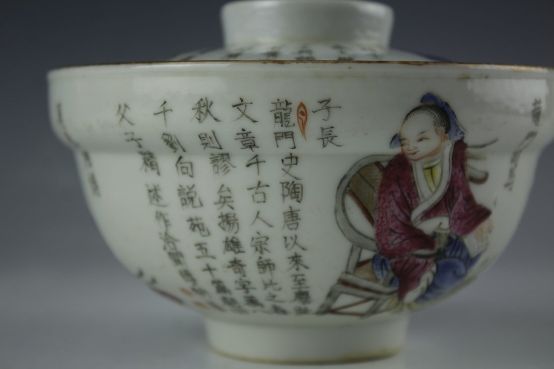 A FAMILLE ROSE Heroes PORCELAIN Bowl W Daoguang Mark - 4