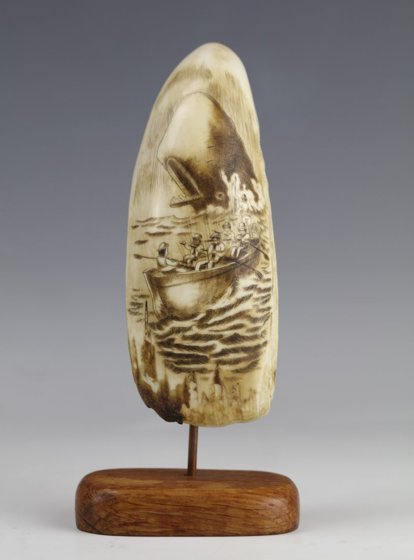 19th Century Scrimshaw Whale Tooth Moby Dick Hunting