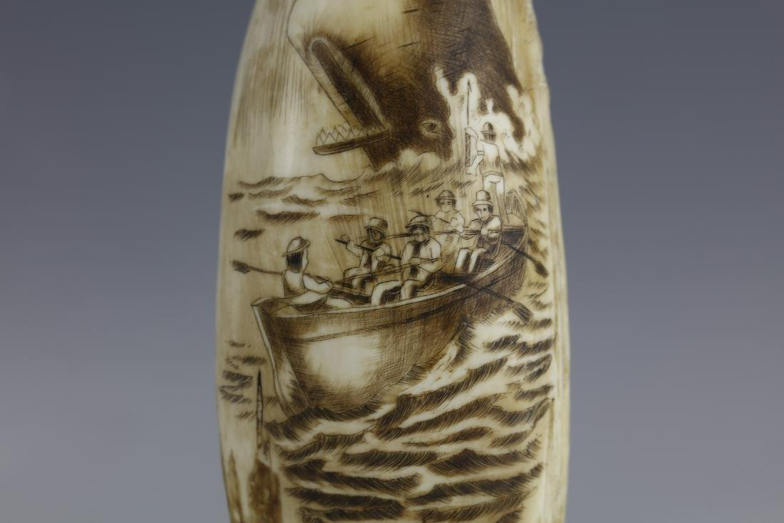 19th Century Scrimshaw Whale Tooth Moby Dick Hunting - 2
