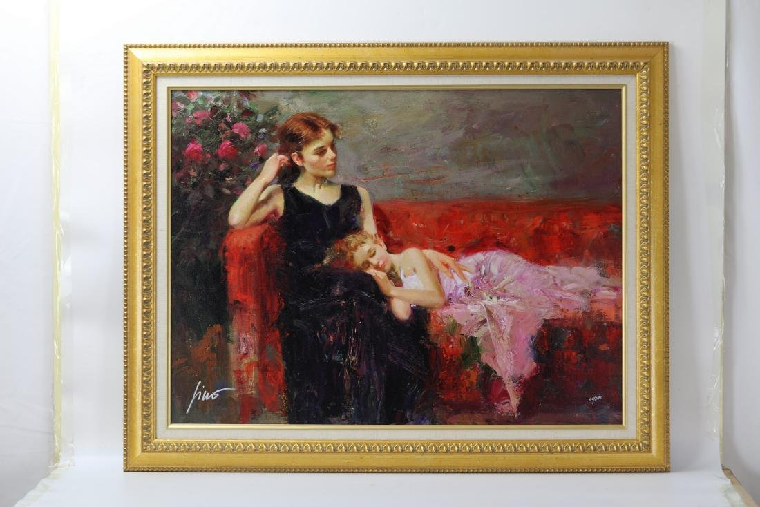 Woman and Girl Framed Giclee  Canvas Signed Pino Daeni