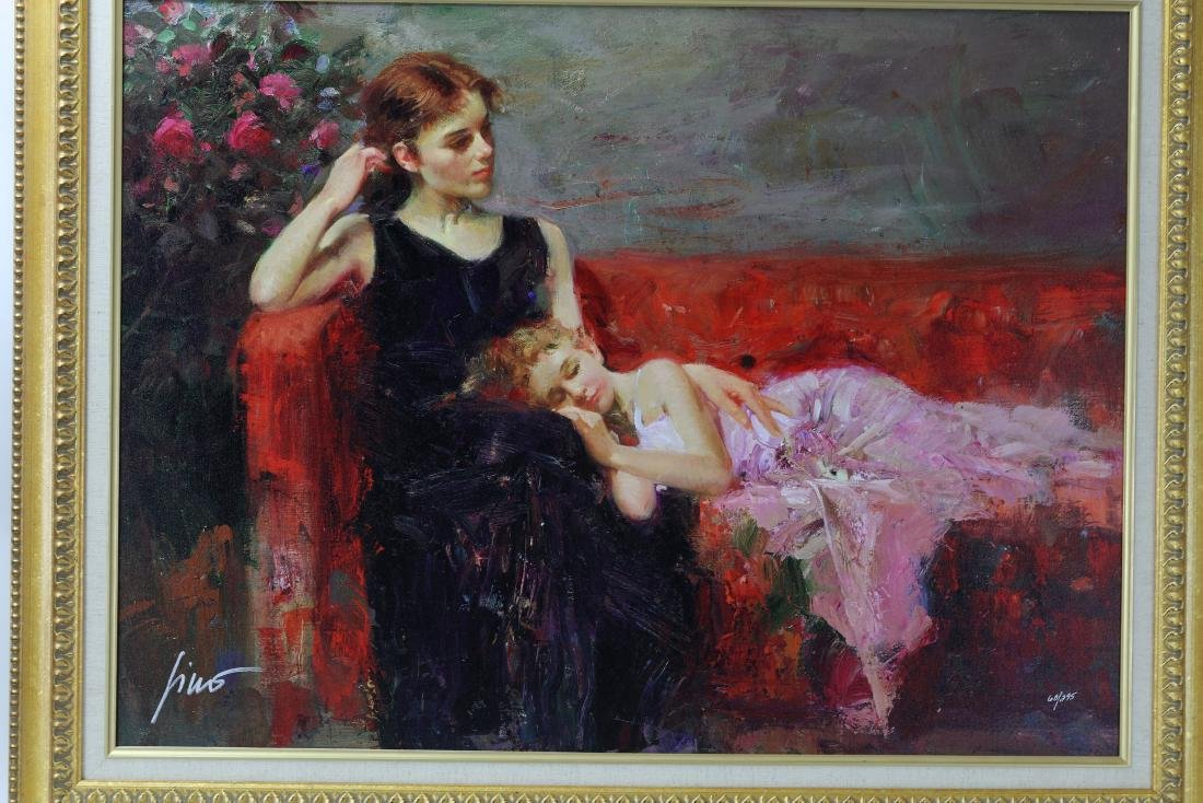 Woman and Girl Framed Giclee  Canvas Signed Pino Daeni - 2