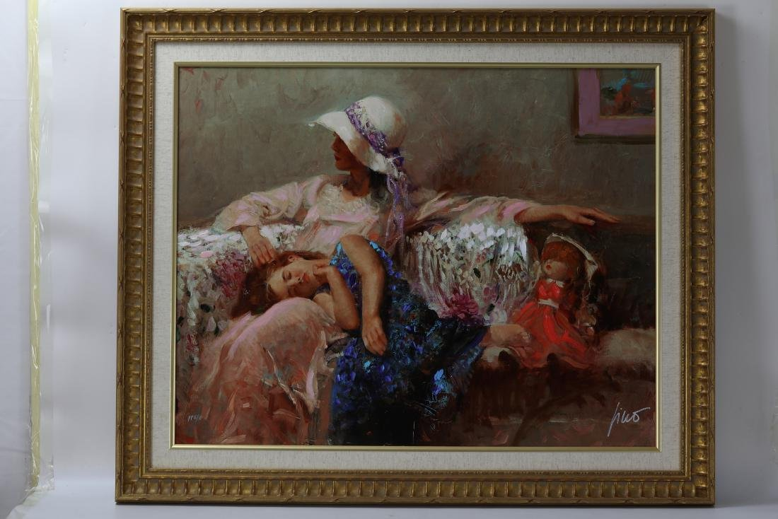 Framed Giclee  Canva Child and Mother signed Pino Daeni