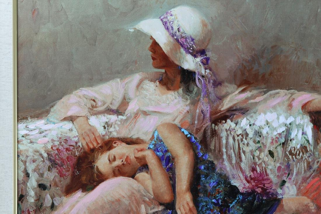 Framed Giclee  Canva Child and Mother signed Pino Daeni - 2