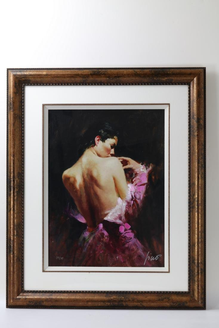 Framed Woman in Ballgown Signed Pino Daeni