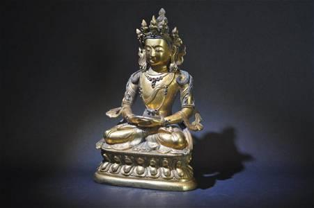 18th Century Tibetan Gilt Bronze Figure of Amitayus