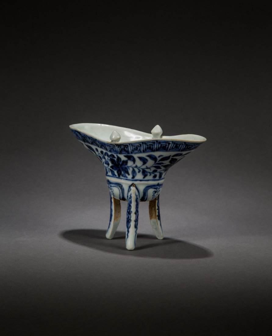 A Blue and White Inter-Locking Lotus Cup from Yuan