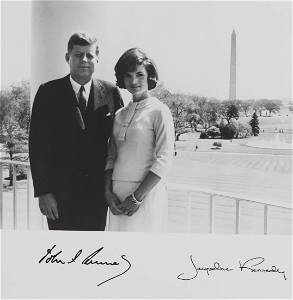Pres. John F. Kennedy and Jacqueline Signed Photo