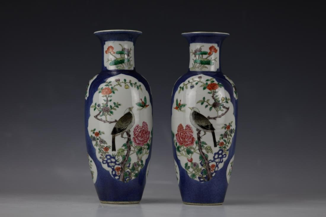 A Pair of Famille Rose Porcelain Vase with KangXi Mark