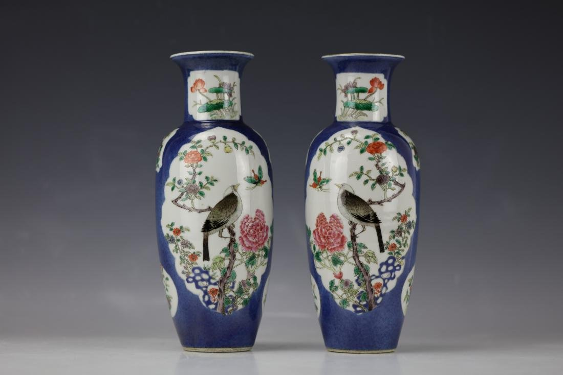 A Pair of Famille Rose Porcelain Vase with KangXi Mark - 2