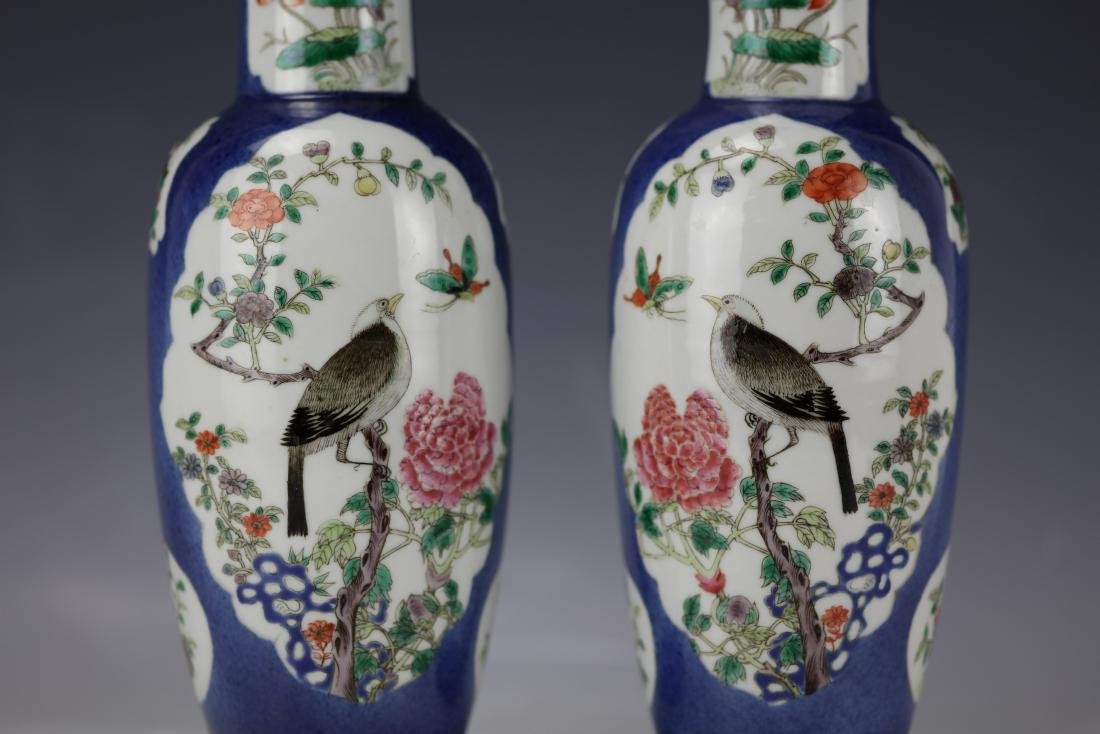A Pair of Famille Rose Porcelain Vase with KangXi Mark - 3