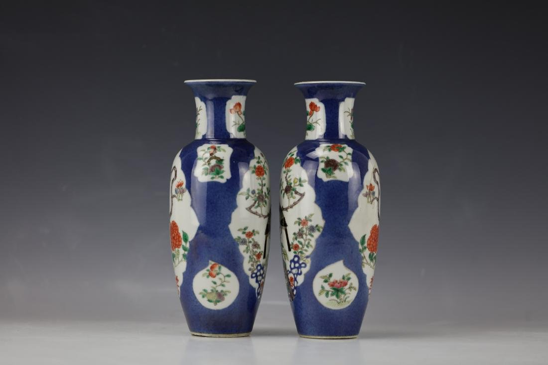 A Pair of Famille Rose Porcelain Vase with KangXi Mark - 4