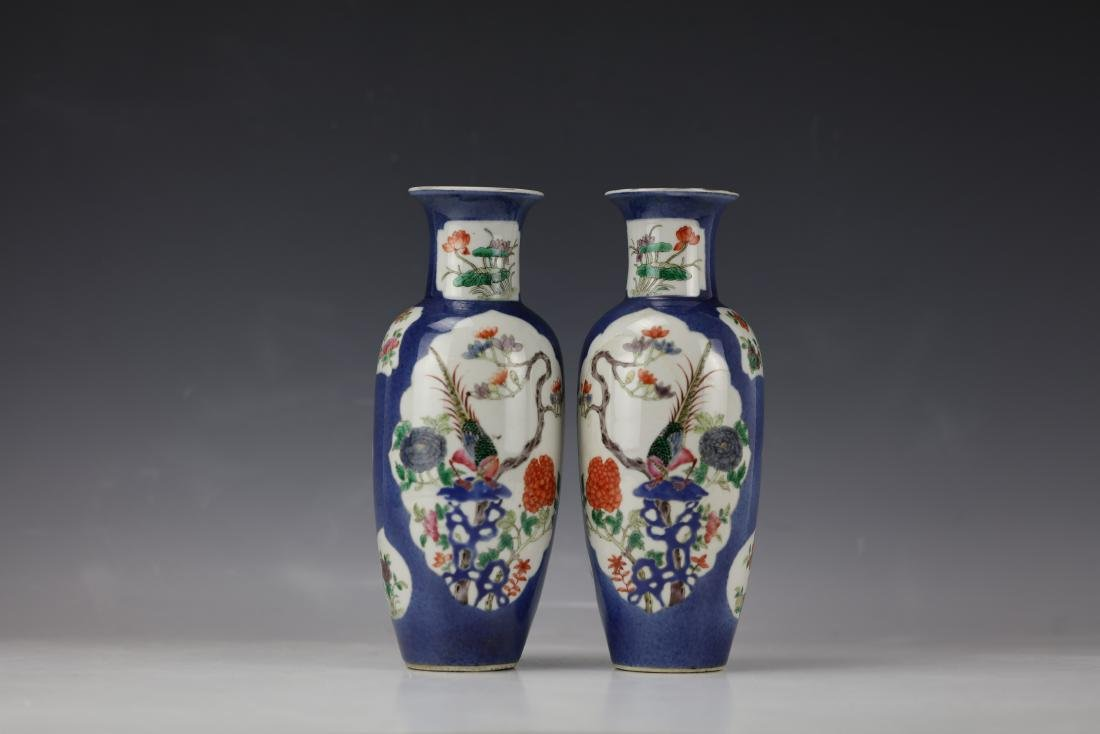 A Pair of Famille Rose Porcelain Vase with KangXi Mark - 5