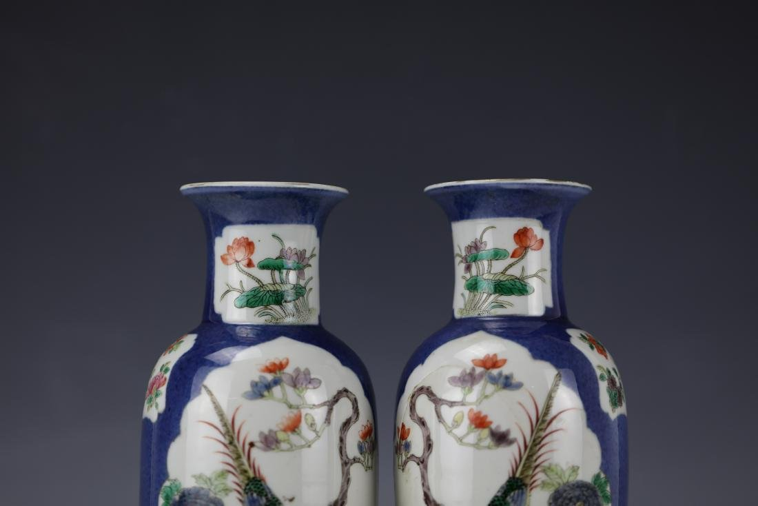 A Pair of Famille Rose Porcelain Vase with KangXi Mark - 6