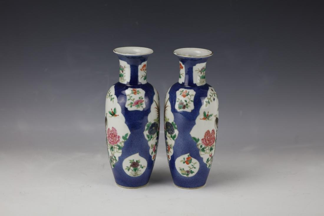 A Pair of Famille Rose Porcelain Vase with KangXi Mark - 7