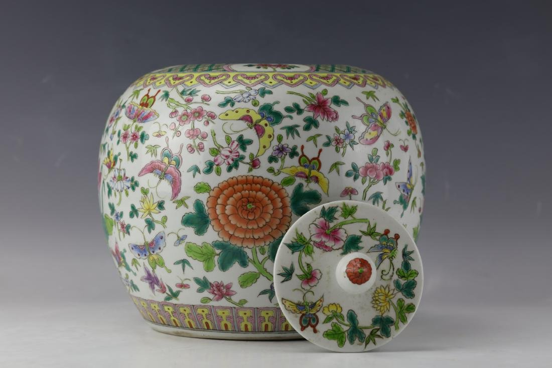 A Famille Rose Porcelain Jar  with Cover - 5