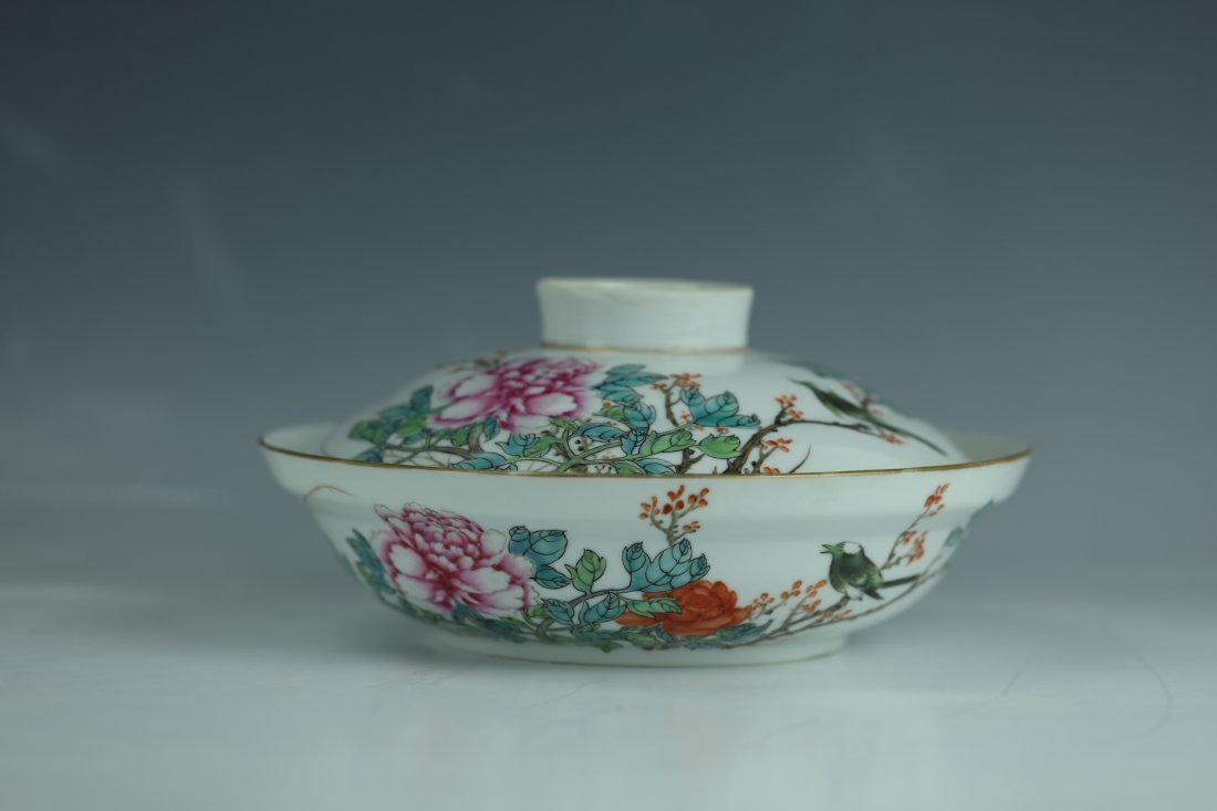 A Famille Rose Porcelain Pot With Cover