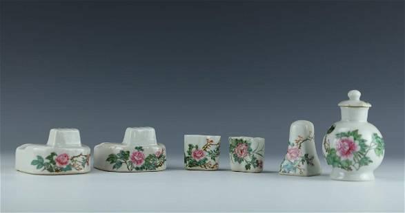 A Group of Famille Rose Porcelain Pots and Vase