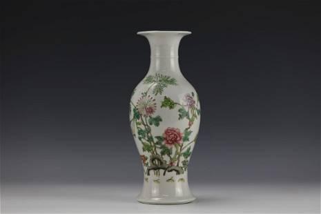 A Famille Rose Floral Porcelain Guanyin Vase