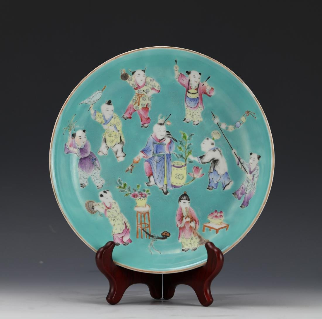 A Famille Rose Figural Porcelain Plate Jiaqin Mark and