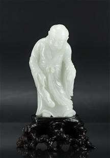 Hetian White Jade Luohan Figure Qing Dynasty