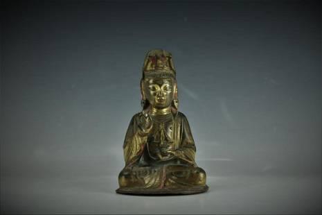 Gilt Bronze Guanyin Bodihsattva Figure Qing Dynasty
